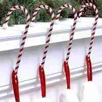 Candy Cane Stocking Holder - 4 Pack - NEW - Dark Red & White