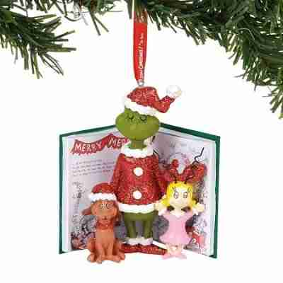 Department 56 The Grinch Grinch, Cindy, And Max Book Hanging Ornament