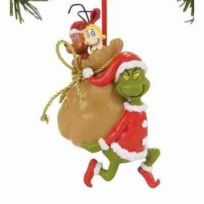 Department 56 The Grinch Santy Claus Stowaways Christmas Ornament