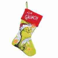 Dr. Seuss Grinch Large LED Stocking, Satin and Plush, Green, Red, White