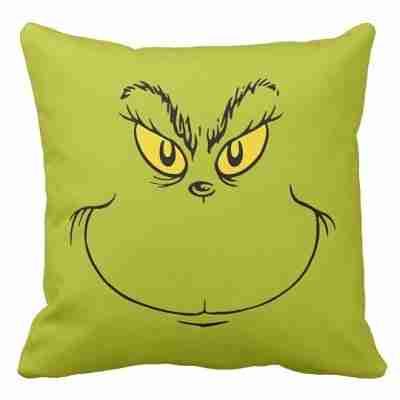 How the Grinch Stole Christmas Face Throw Pillow