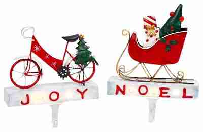 Lighted Metal Bicycle and Sled Stocking Holders, Set of 2