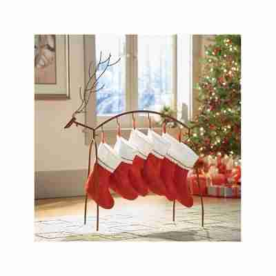 Metal Reindeer Stocking Holder - Standing Holiday Decoration with Hooks - Rusted Finish