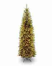 National Tree 7.5' Kingswood Fir Pencil Tree, Hinged, 350 Clear Lights (KW7-300-75)