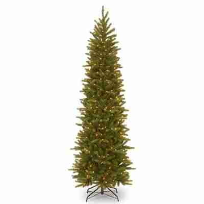 National Tree 7.5 ft Feel-Real Grande Fir Pencil Slim Hinged Tree with 350 Clear Lights