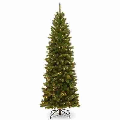 National Tree 7.5 ft North Valley Spruce Pencil Slim Hinged Tree with 400 Clear Lights