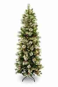 National Tree 7.5 ft Wintry Pine Slim Tree, Hinged, 400 Clear Lights (WP1-310-75)