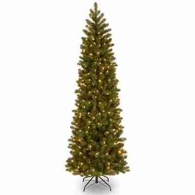 National Tree Pre-Lit 7.5 ft Feel-Real Down Swept Douglas Fir Pencil Slim Hinged Artificial Christmas Tree with 350 Clear Lights