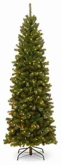 North Valley Spruce Pencil Slim Tree with Clear Lights, 6.5 ft.