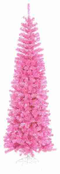 Pre-Lit Artificial Pencil Tinsel Christmas Tree, Pink Lights, Hot Pink, 12 ft