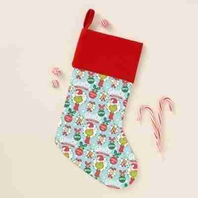 The Grinch Happy Wholidays Pattern Christmas Stocking