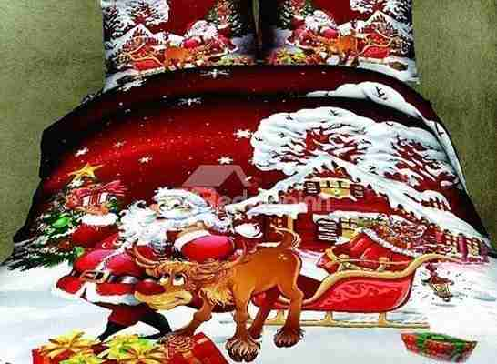 3D Santa and Reindeer Printed Cotton 4-Piece Bedding Sets Duvet Covers