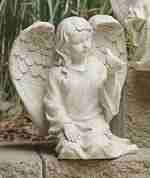 6.75 inch Inspirational Statuary Kneeling Cherub Angel and Bird Outdoor Garden Statue