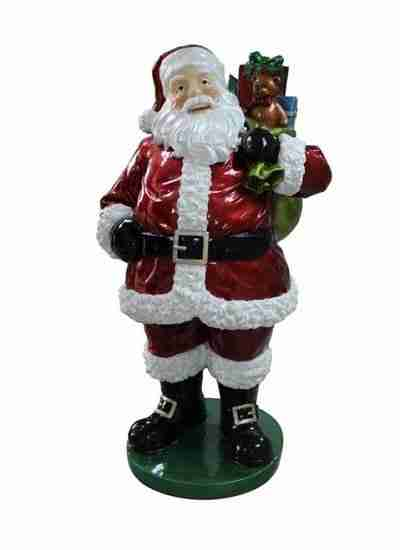 63 inch Commercial Grade Standing Santa Claus with Presents Fiberglass Christmas Decoration