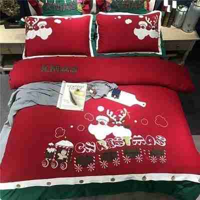 Egyptian-Cotton-Linen-Queen-King-Luxury-Red-Christmas-Bedding-Set-Duvet-Cover-Bed-sheet-set-Pillowcases