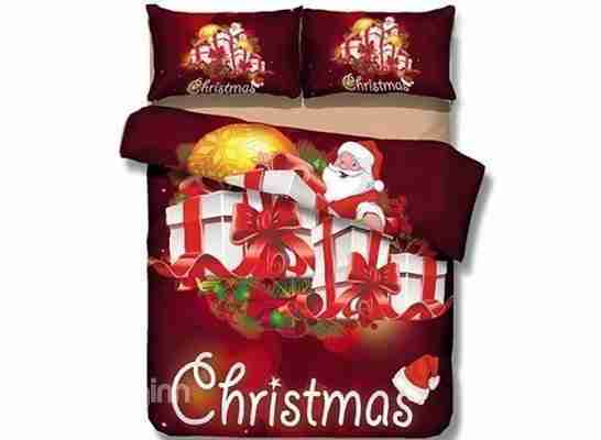 Gorgeous Christmas Gift and Santa Print 4-Piece Polyester Duvet Cover Sets Red