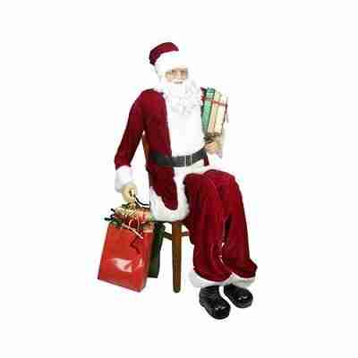 Huge 6 Foot Life-Size Decorative Plush Christmas Santa Claus Figure with Presents