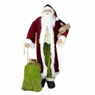 Huge 6' Life-Size Standing Decorative Plush Christmas Santa Claus Figure with Teddy Bear & Gift Bag