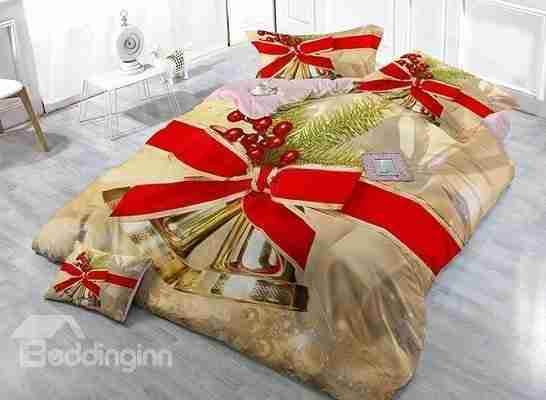 Jingle Bell Christmas Decor Print Christmas 4-Piece Duvet Cover Sets Thread count 400