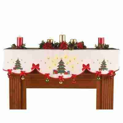 Lighted Christmas Ornament Mantel Scarf