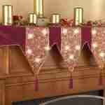 Lighted Holiday Velveteen Mantel Scarf