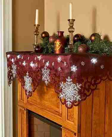 Lighted Snowflake Mantel Scarve with 12 LED Light String