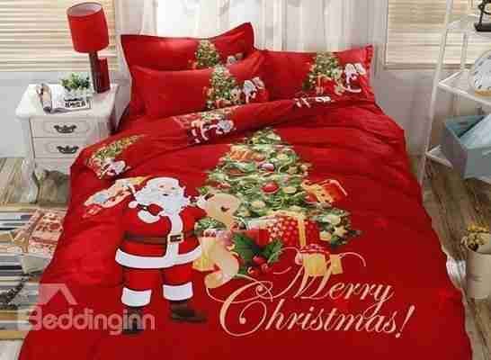 Santa Claus Delivering Gifts Red Cotton 4-Piece Merry Christmas Bedding Sets Duvet Cover