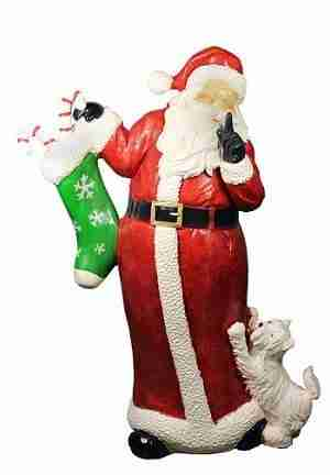Santa Claus With Puppy Dog Christmas Display Decoration, 48.5 Inch
