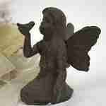 Small Cast Iron Playful Fairy Garden Statue Angel Pixie Fairy