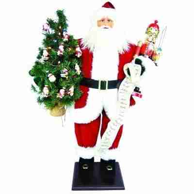 Tall 36 Inch Lighted Santa Claus Christmas Figure with Tree and Wooden Nutcracker