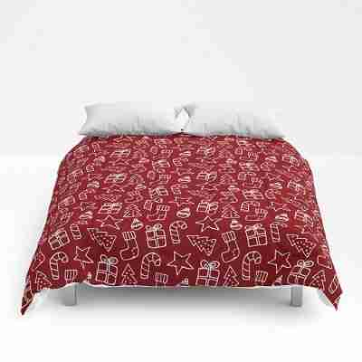 red christmas-doodles comforters