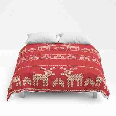 red christmas deers comforter