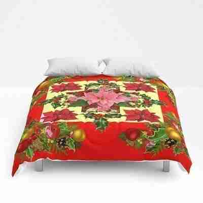 red-pink-poinsettias-christmas-ornaments-art-comforters
