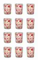 12 Count Floating Hearts Frosted Votive Candle Holders