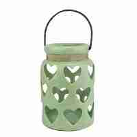 12inch Tea Garden Green Cut-Out Heart Antique Crackle Tea Light or Votive Candle Holder