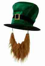 Adult Plush Leprechaun Green Top Hat with Buckle Accent & Beard