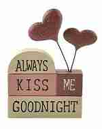 Always Kiss Me Goodnight Resin Stacked Blocks with Hearts Decoration
