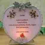 Glass Heart Candle Holder - Red Roses