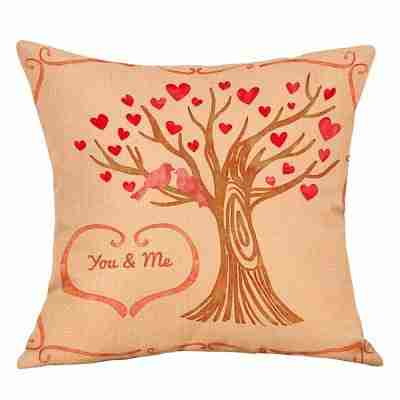 Hearts Tree Print Valentine's Day Linen Sofa Pillowcase