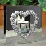 Infinity Glass Tealight Candle Holder - Mirrored Glass - Silver Metal Heart and Roses