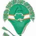 Irish Green Shamrock Mohawk Knit Winter Beanie Toque Hat