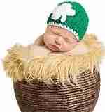 Melondipity Shamrock Crochet Baby Hat - Organic Irish Beanie in Green & White