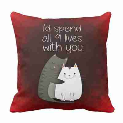 Nine lives together two cats in love throw pillow