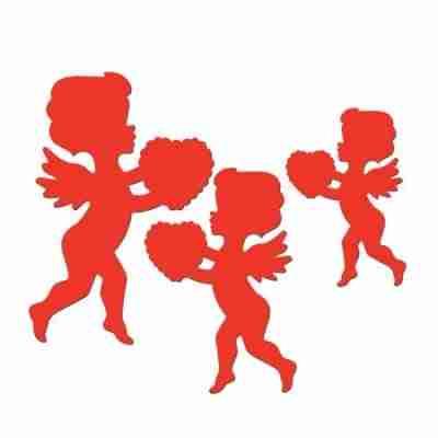 Printed Cupid Cutouts Bearing Red Hearts