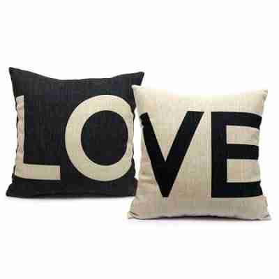 Set of 2 Love Pillow Covers Decorative Couch Throws Cases Cushion Covers