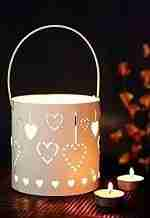 Unique Tea Light Holders Charming Hanging Heart Bucket Votive Candlestick Holder