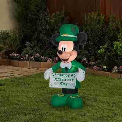 3.5 ft Airblown Disney St. Patrick's Day Mickey Mouse Spring Inflatable
