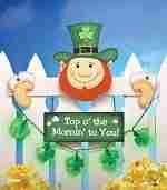 Lighted Leprechaun St. Patrick's Day Fence Topper