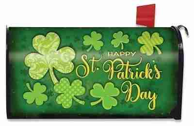 Lucky Shamrocks St. Patrick's Day Magnetic Mailbox Cover Patterned Clover
