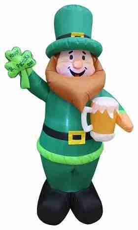 Saint Patrick's Day Inflatable Leprechaun Holding Shamrock and Beer, 6 ft
